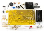 Kit component shot, unassembled PCB and components
