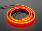 Coiled LED strip lit up red