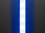 Vertical close-up of LED strip with translucent white sheathing. The LEDs flash blue.