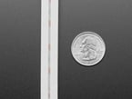 Vertical close-up of bottom of LED strip with translucent white sheathing next to US quarter.