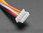 Close-up of 5-pin connector on 1.25mm pitch 20cm long cable.