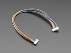 Angled shot of 20cm long 1.25mm pitch color-coded 9-pin cable.