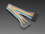 Angled shot of 20cm long 12-pin 2.54mm pitch jumper cable.