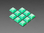 Group shot of 10 pack DSA color keycap FLUORESCENT GREEN KIT