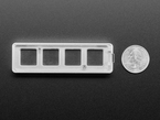 Bottom of 4-Key Aluminum Keypad Shell in Silver next to US quarter for scale.