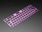 Angled shot of Anodized Purple Aluminum Metal Keyboard Plate.