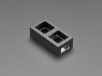 Angled shot of 2-Key Aluminum Keypad Shell in Adafruit Black.