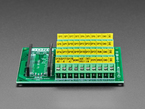 Close-up of terminal blocks on Screw Terminal Block Breakout Module Board for Raspberry Pi Pico.