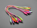 """Angled shot of ten 13"""" long colorful alligator test clips."""