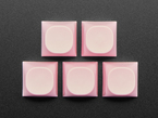 Top view of five pink MA keycaps.