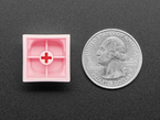 Bottom of pink MA keycap next to US quarter for scape.