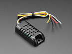 Angled shot of black 4-wire temperature-humidity sensor box.