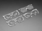 Angled shot of 4 PCB eyeglass masks.
