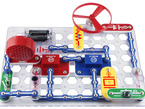 Assembled snap circuits project with many parts connected together