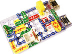 Assembled snap circuits projects with many parts connected together