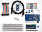 Kit contents with mbed, RFID reader, breadboard, LCD, wires and components