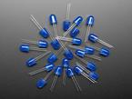 scattered pile of unlit large blue LEDs