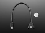 Panel Mount USB Cable - A Male to A Female next to quarter for size comparison