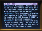 Close up of TV text output from YBox about Mars Phoenix lander.