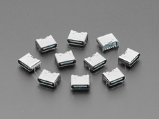 Angled shot of 10 USB-C jack connectors.