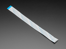 Angled shot of 25cm long FPC ribbon cable.