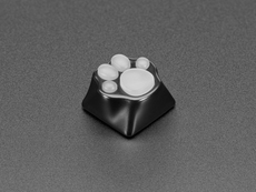Angle shot of black and white paw print keycap.
