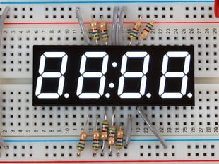 White 7-segment clock display - 0.56