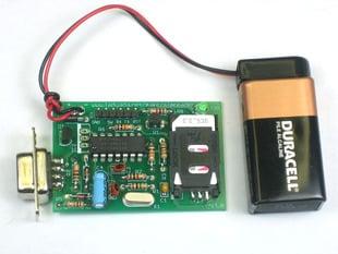 SIM Reader kit connected to 9V battery