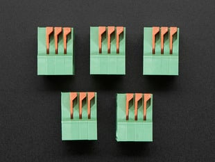Top view of five Configurable Spring Terminal Blocks - 3 Pin 0.1""