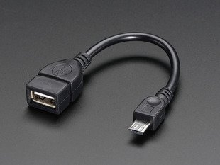 USB OTG Host Cable - MicroB OTG male to A female