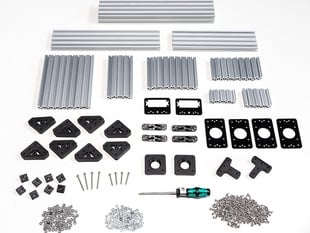 OpenBeam Precut Machinist Kit - Silver Aluminum Beams and many connector plates and parts