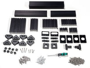 OpenBeam Precut Machinist Kit - Black Aluminum Beams and many connector plates and parts