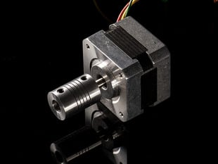 Aluminum Flex Shaft Coupler attached to stepper motor