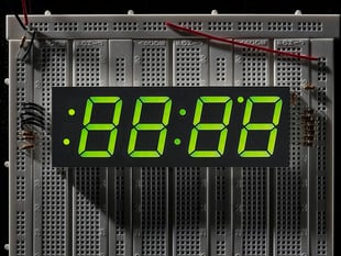 Green 7-segment clock display - 1.2