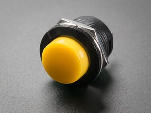 16mm Panel Mount Momentary Pushbutton -  Yellow