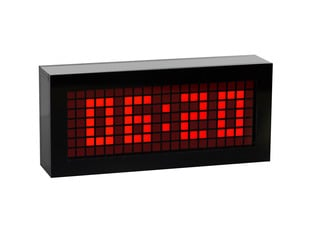 """Desktop clock with 7 x 16 square matrix display showing """"06:20"""" time on display"""