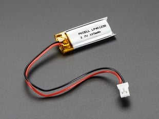Lithium Ion Polymer Battery 3.7v 100mAh with JST 2-PH connector