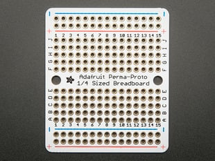Top view of Adafruit Perma-Proto Quarter-sized Breadboard PCB.