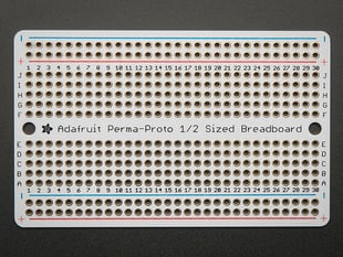 Top view of Adafruit Perma-Proto Half-sized Breadboard PCB.