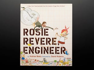 "Front cover of ""Rosie Revere, Engineer"" by Andrea Beaty and illustrated by David Roberts. Illustrations feature a young blonde girl with a red-and-white polkadot head kerchief. A man with big pantaloons as a parachute floats near her."