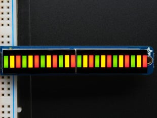 Two lit up Bi-Color (Red/Green) 12-LED Bargraphs in a row