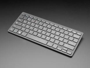 Angled shot Mini Wireless Keyboard - Black w/ Batteries