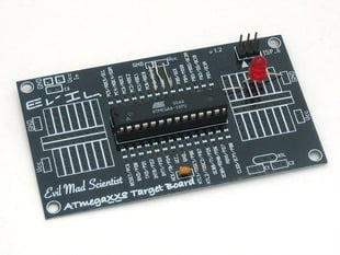 Angled photo of assembled ATmega-XX8 Target Board with ATmega328 installed.