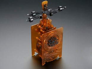 Angled shot of assembled Edo-Style Clock Kit.