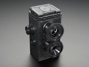 Angled shot of assembled 35mm Twin Lens Reflex Camera Kit.