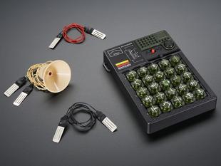 Angled shot of kit contents for Electronic Blocks Mini kit.