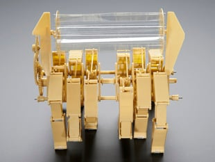 Front view of assembled Mini Rhinoceros kinetic sculpture kit.