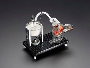 Angled shot of assembled V-twin Steam Engine Kit.