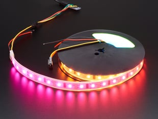 Coiled LED strip with each LED a different pink/red color