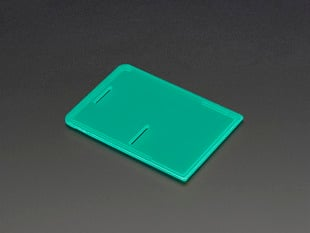 Angled shot of green lid for Pi Model B+ / Pi 2 / Pi 3.